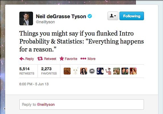StarTalk Radio host Neil deGrasse Tyson tweets lessons in probability and statistics.