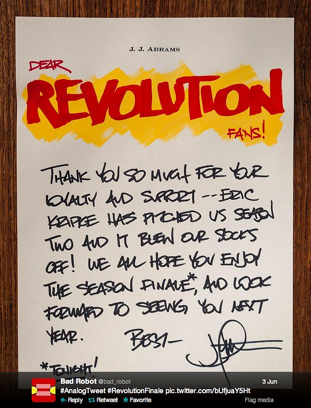 Director J.J. Abrams sends an analog tweet on his own stationary to fans of his postapocalyptic NBC show.