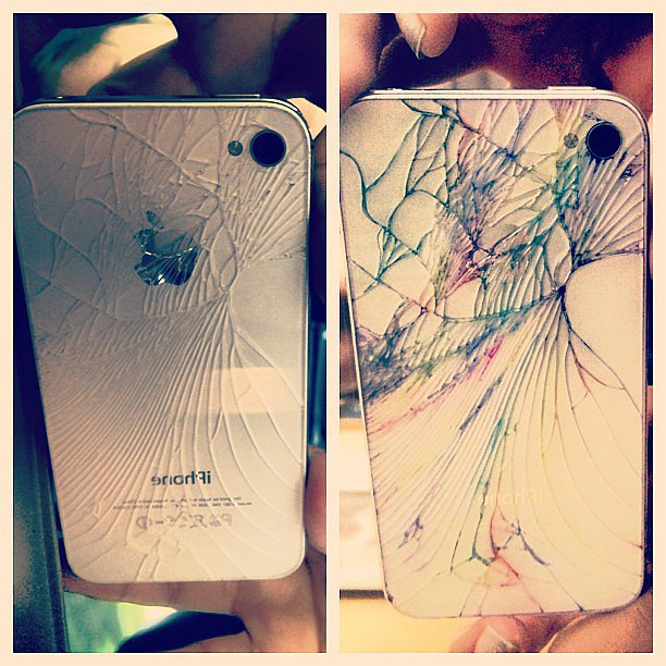 Instagram user nicolecolour demonstrates the before and after of a cracked iPhone.