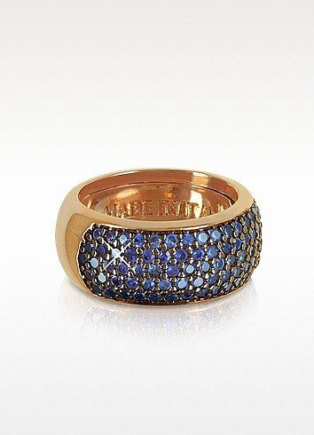 Azhar Blue Cubic Zirconia Silver Vermeil Ring