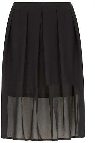 Black georgette midi skirt