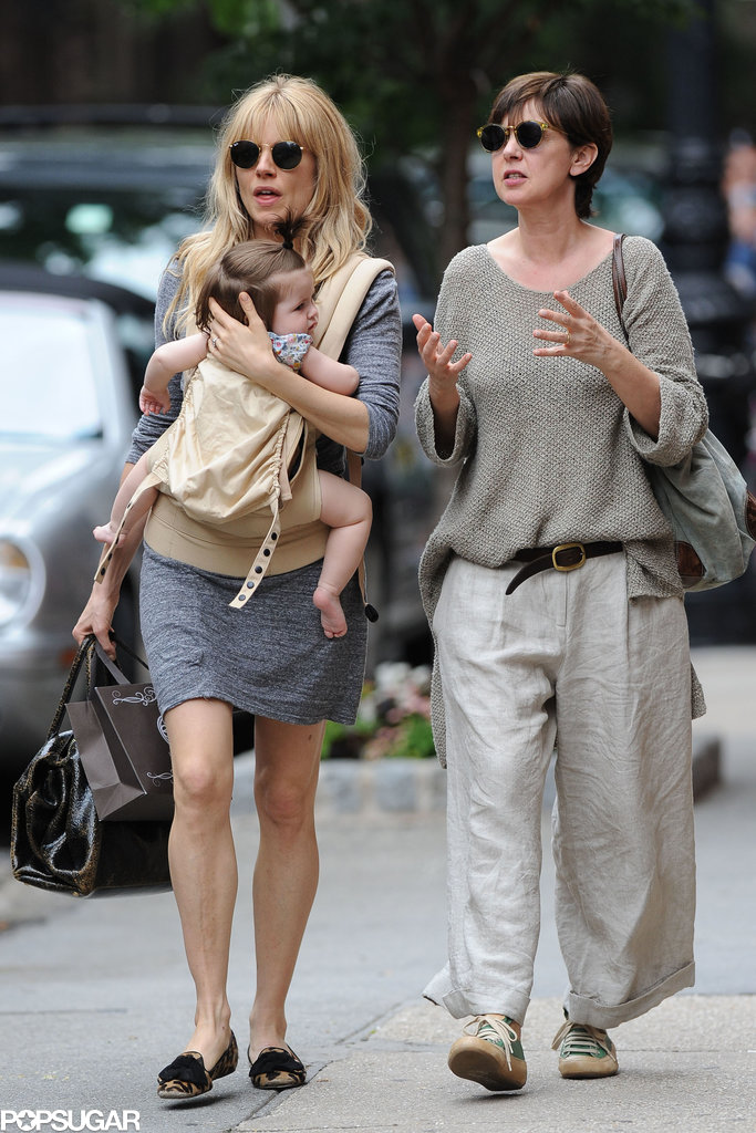 Sienna Miller walked with Tom Sturridge's mom, Phoebe Nicholls.
