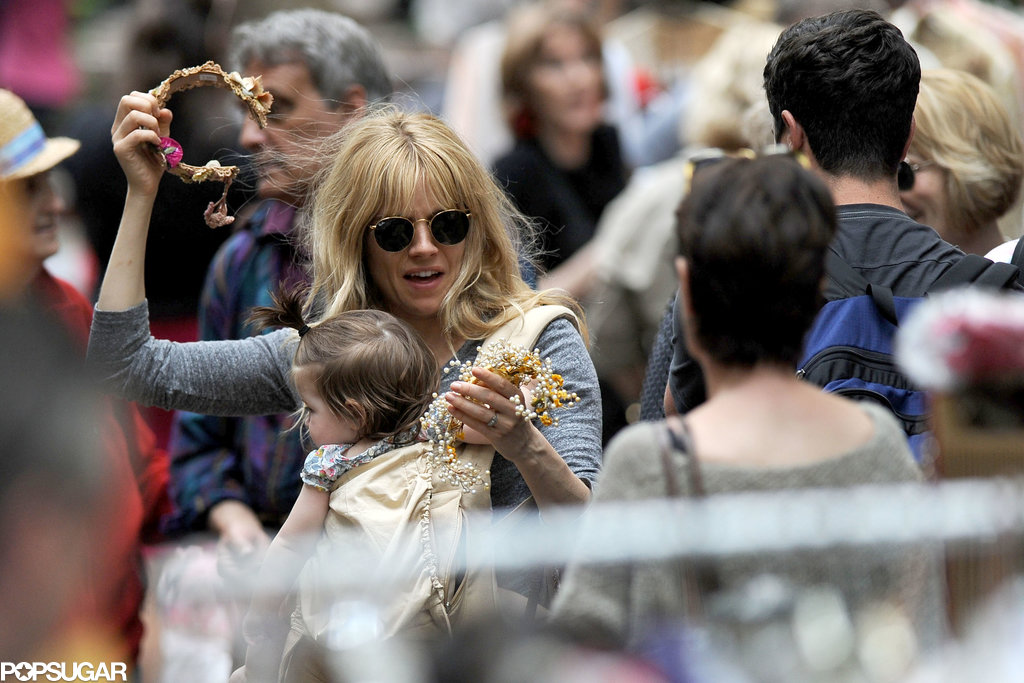 Sienna Miller and Phoebe Nicholls shopped at a flea market in NYC.