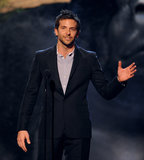 Bradley Cooper spoke on stage.