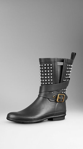 Stud Detail Belted Rain Boots