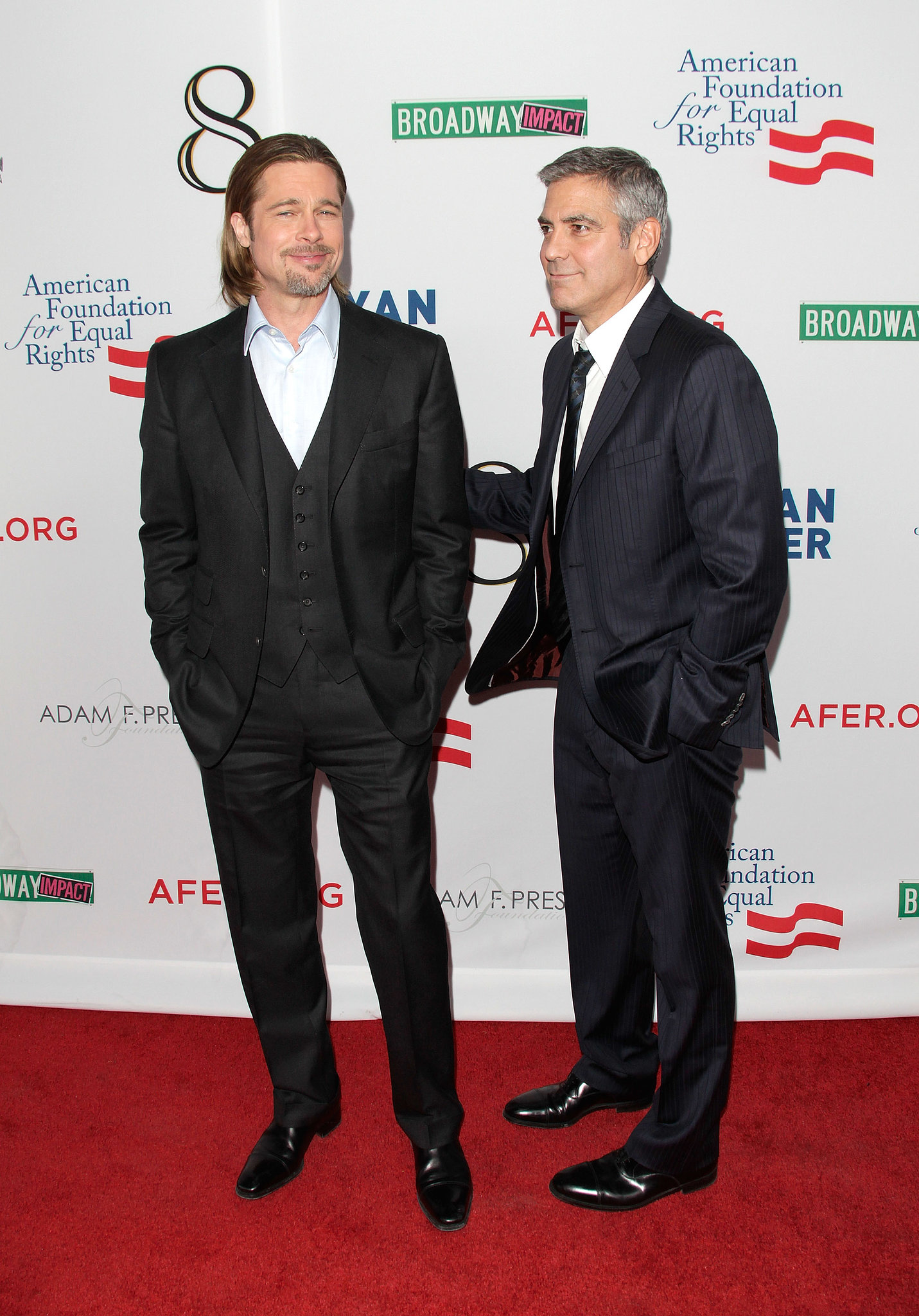 Brad Pitt and George Clooney put their friendship on the big screen in the Ocean's series. The guys link up regularly for big Hollywood award shows.