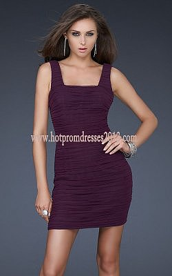 Two Shoulder Tight Short Prom Dresses Purple