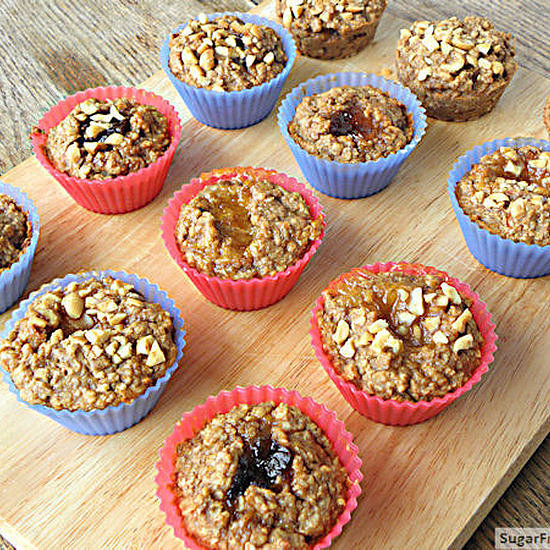 Individual Peanut Butter, Banana, Jelly-Filled Baked Oatmeal
