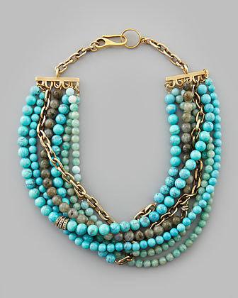 Paige Novick Julie 7-Strand Beaded Necklace, Turquoise