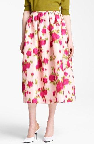 Michael Kors Rose Print Faille Ball Skirt