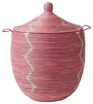 Senegalese Storage Basket - Pink, Large