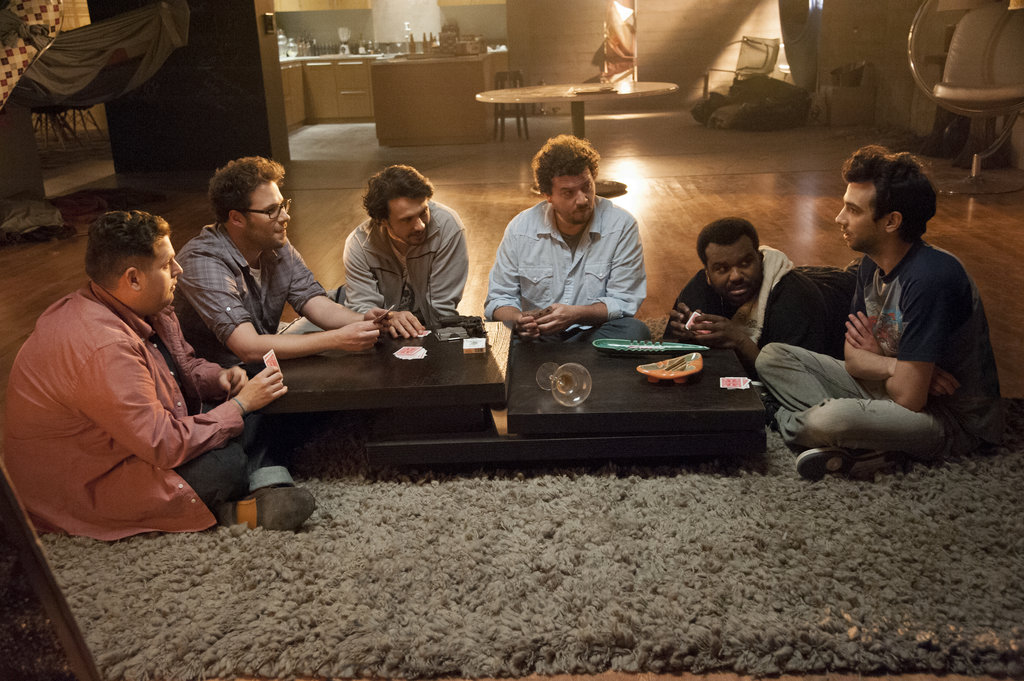 Jonah Hill, Seth Rogen, James Franco, Danny McBride, Craig Robinson, and Jay Baruchel in This Is the End.