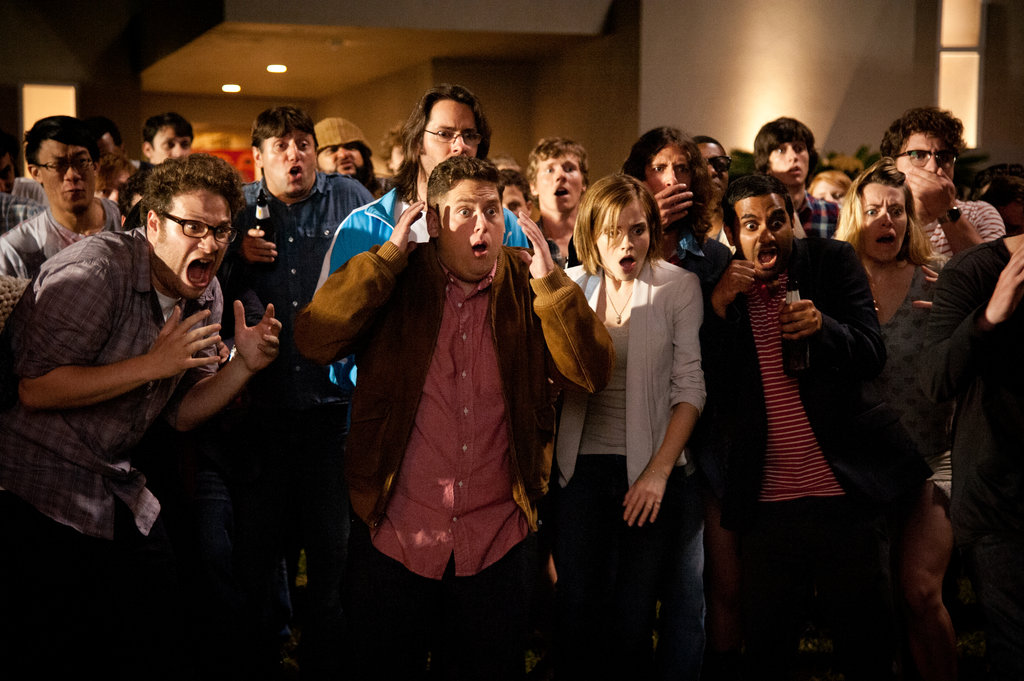 Seth Rogen, Jonah Hill, Emma Watson, and Aziz Ansari in This Is the End.
