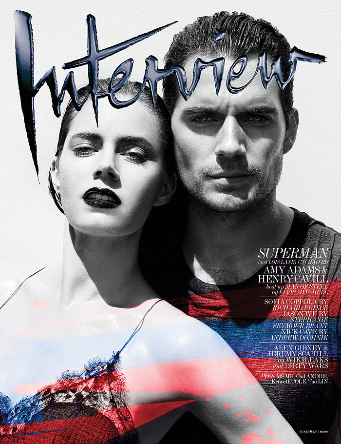 Amy Adams and Henry Cavill covered Interview's June/July issue for their upcoming movie Man of Steel. 