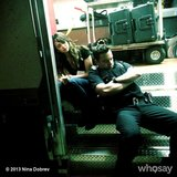 Nina Dobrev and Jake Johnson dozed off in between takes. Source: Nina Dobrev on WhoSay