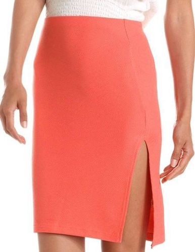 Textured Side Slit Pencil Skirt