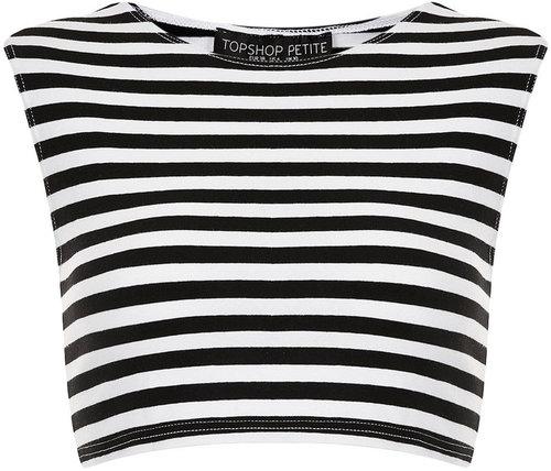 Petite Stripe Stretch Crop Top