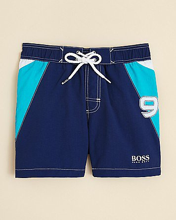 Give your little surfer boy some serious designer style in Hugo Boss's colorblocked trunks ($64).
