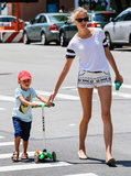 Karolina Kurkova took her son Tobin out for a scooter ride around NYC on Sunday.