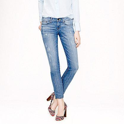 Toothpick jean in distressed Cone® denim
