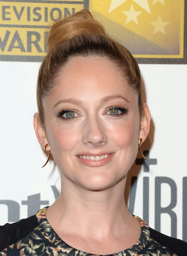 Judy Greer opted for a twisted topknot and bronzy shadow for the Critics' Choice Television Awards.