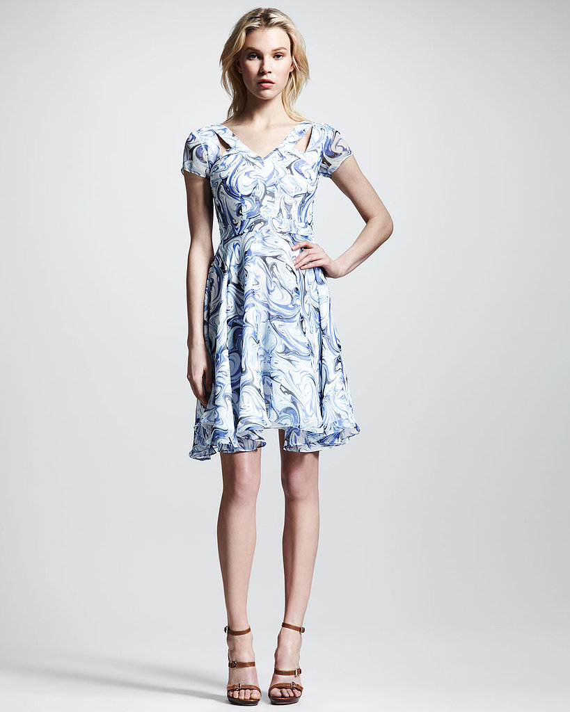 The swirly, psychedelic print of this Nonoo style ($650) gets feminized with girlie cap sleeves and a fluid skirt.