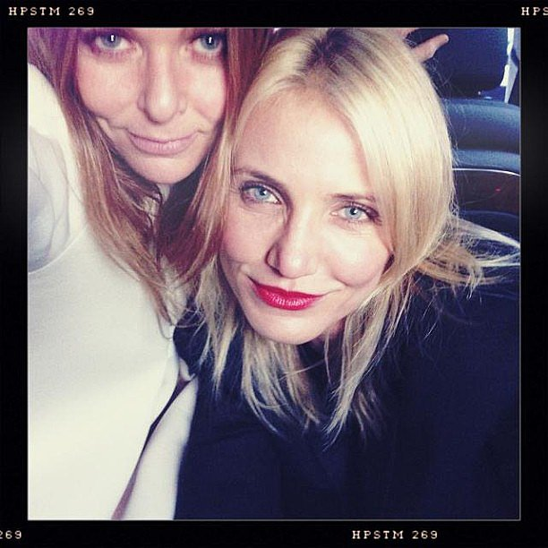Cameron Diaz worked red lippie with Stella McCartney at the designer's Spring 2014 presentation. Source: Instagram user stellamccartney