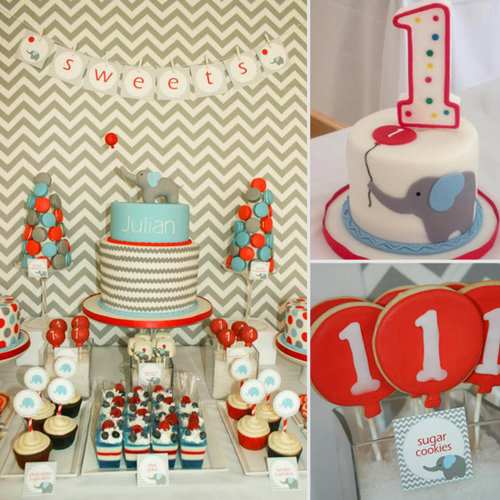A Chevron, Elephant, and Balloon Birthday Party
