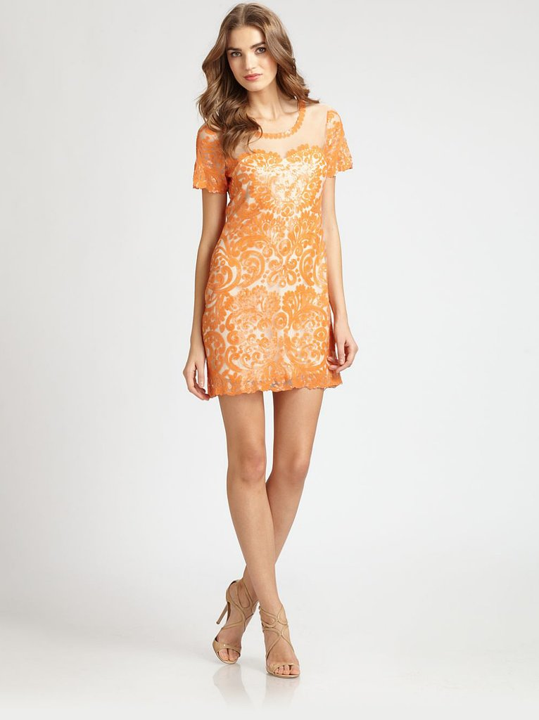 Cocktail dresses needn't be in exclusively dark shades. We love Candela's sherbet-colored sequined shift ($330).
