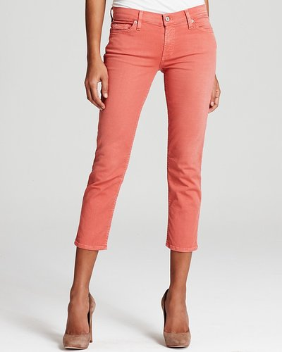 7 For All Mankind Jeans - Twill Crop Skinny Jeans in Light Coral