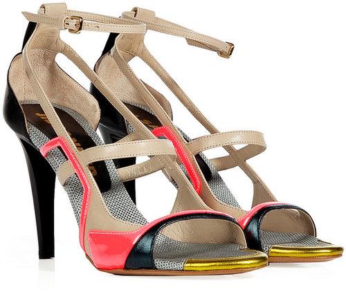 Jil Sander Black-Multi Colorblock Leather Sandals