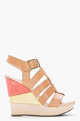 DIANE VON FURSTENBERG Tan Colorblocked Leather Oceania Wedge Sandals