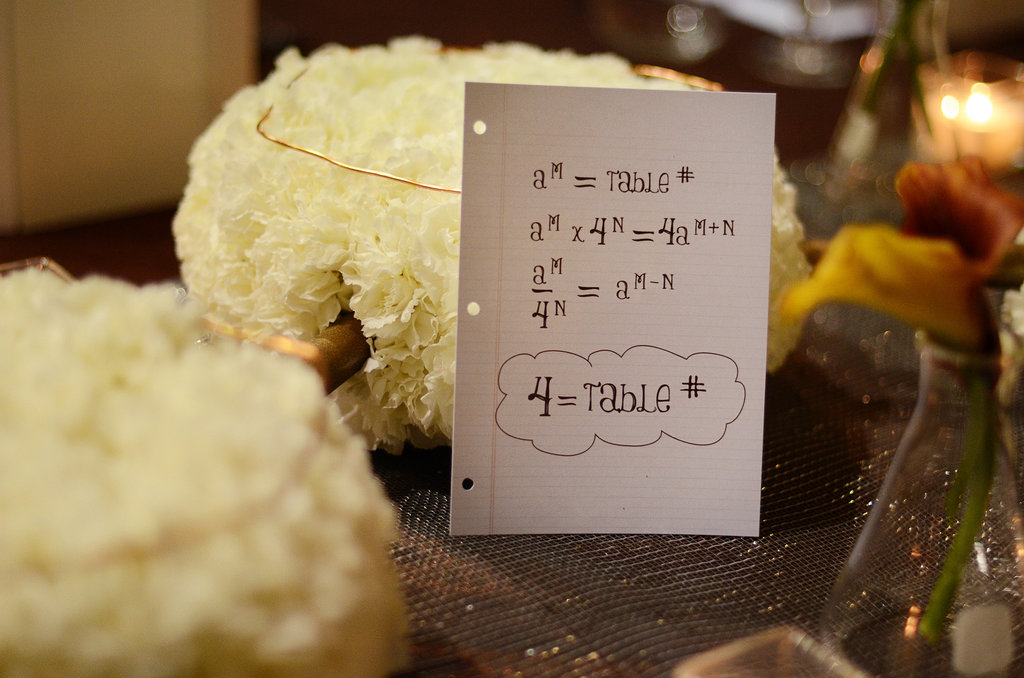 Table numbers that wouldn't look out of place in an advanced math class.  Source: Mariana Mosli, Kismisink Photography