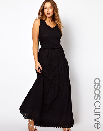 ASOS CURVE Exclusive Maxi Dress With Crochet Frill Hem