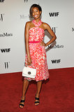 Tolula Adeyemi glowed in a breezy Max Mara silk chiffon, floral-print halter dress and Sportmax sandals.