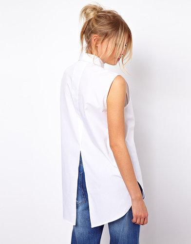 ASOS Sleeveless Boyfriend Shirt With Bib Detail And Split Back