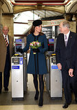 Kate Middleton toured a subway station in London with Queen Elizabeth II in March 2013.