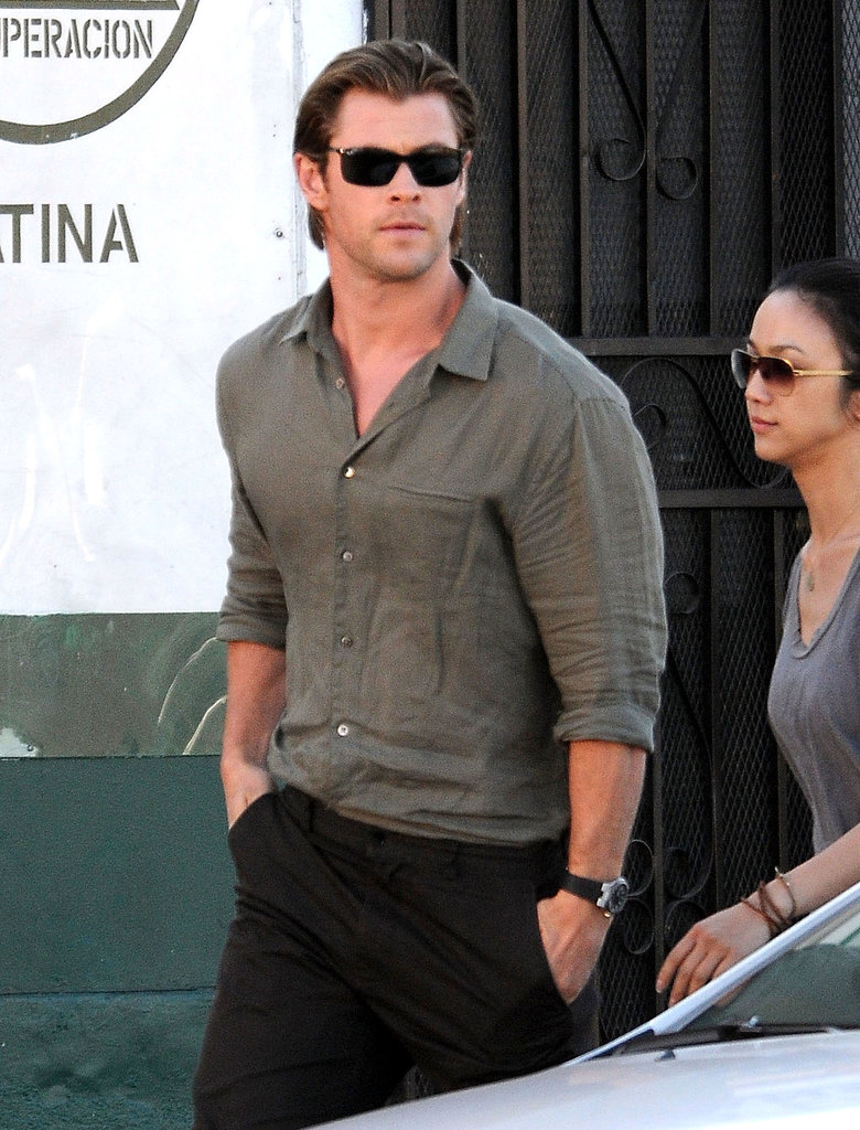 Chris Hemsworth looked handsome on the set of his new film Cyber in LA on Monday.