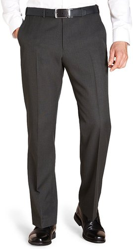 Crease Resistant Flat Front Straight Fit Trousers