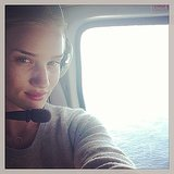 "Rosie Huntington-Whiteley was prepared for lift off and ""chopper time"" during a helicopter ride.  Source: Instagram user rosiehw"