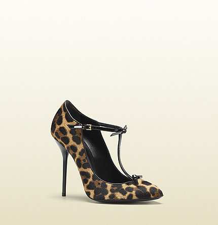 Beverly Jaguar Print T-Strap Pump