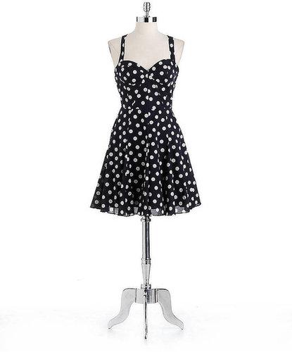 BETSEY JOHNSON Cotton Polka Dot Halter Dress