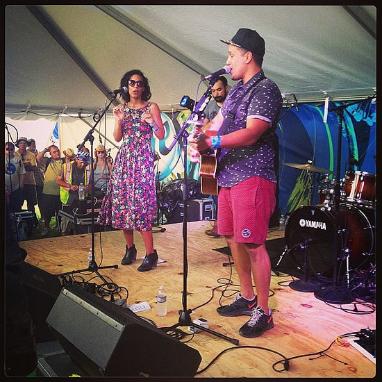 Watching Johnnyswim perform — they had the best harmonies, and singer Amanda Sudano stayed cool and chic in a floral dress and ankle boots. Source: Instagram user popsugarfashion