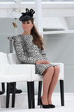 Kate Middleton sat while preparing to christen the new ship.