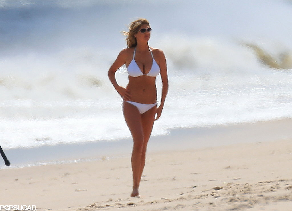 Kate Upton wore a bikini on set.