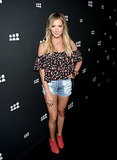Ashley Tisdale wore daisy dukes to the Myspace launch in LA.