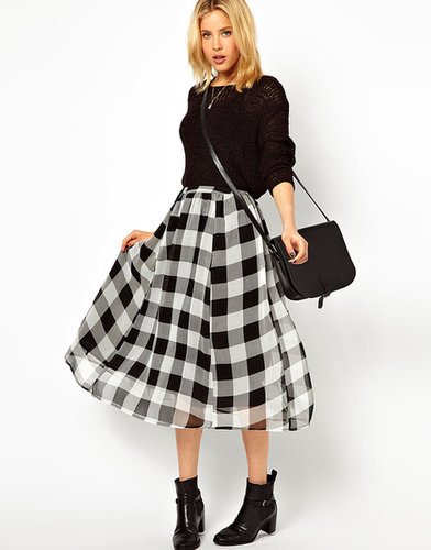 ASOS Midi Skirt in Check Print