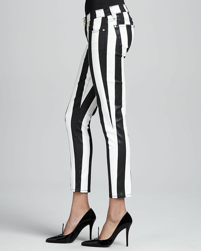 7 For All Mankind Striped Cropped Cigarette Pants
