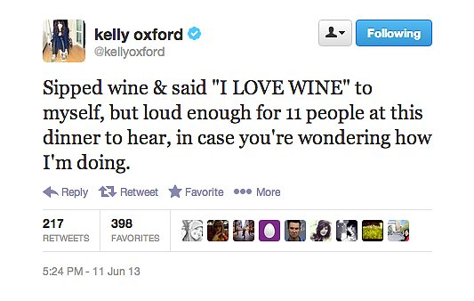 There, there, author Kelly Oxford. We're really passionate about wine, too.