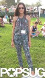 No shoes, no problem. This festivalgoer went with the light and breezy approach, and her printed jumpsuit proved it.